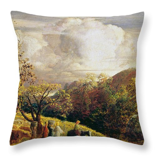 Landscape Throw Pillow featuring the painting Landscape Figures And Cattle by Samuel Palmer