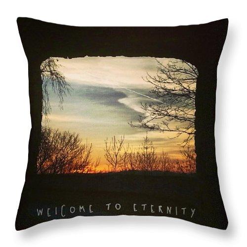 Eternity Throw Pillow featuring the photograph #landscape #gateway #historicalplace by Mandy Tabatt