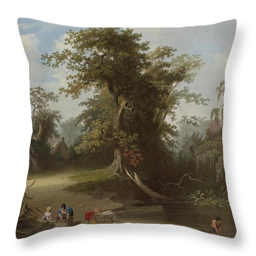 Landscape. Rural Scenery By George Caleb Bingham Throw Pillow featuring the painting Landscape by George Caleb