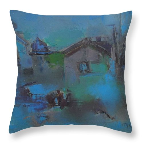 Landscape Throw Pillow featuring the painting Landscape In Blue by Pemaro