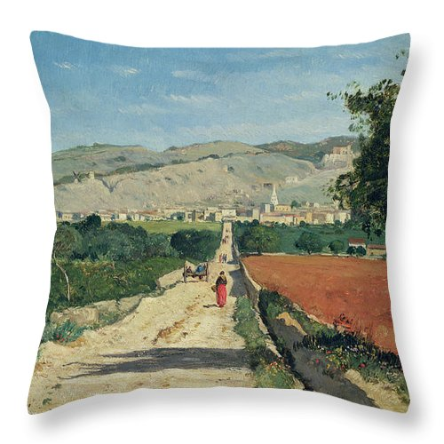 Fields Throw Pillow featuring the painting Landscape in Provence by Paul Camille Guigou