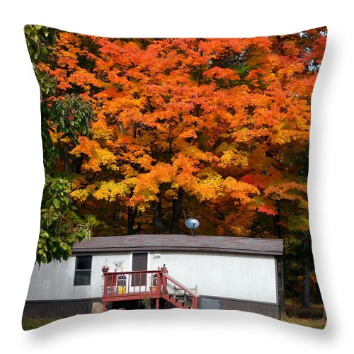 Landscape View Of Mobile Home Throw Pillow featuring the painting Landscape View Of Mobile Home 1 by Jeelan Clark