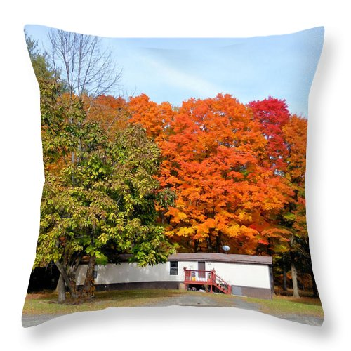 Landscape View Of Mobile Home Throw Pillow featuring the painting Landscape View Of Mobile Home 2 by Jeelan Clark