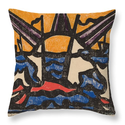 Throw Pillow featuring the drawing Landscape With A Sun by Jacoba Van Heemskerck Van Beest