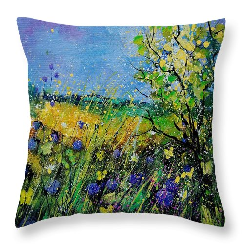Flowers Throw Pillow featuring the painting Landscape With Cornflowers 459060 by Pol Ledent