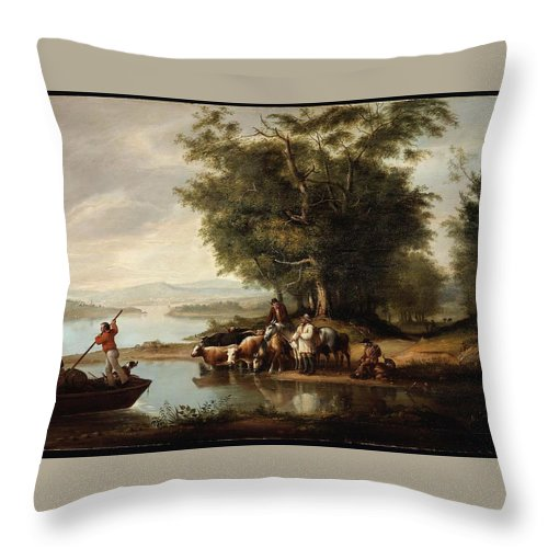Landscape With Cows Throw Pillow featuring the painting Landscape With Cows by MotionAge Designs