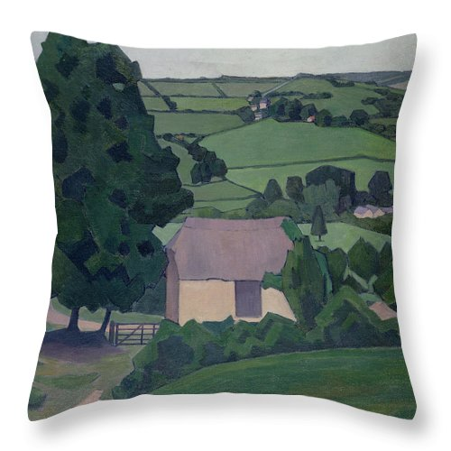 Landscape Throw Pillow featuring the painting Landscape With Thatched Barn by Robert Polhill Bevan
