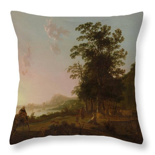Landscape With The Flight Into Egypt Throw Pillow featuring the painting Landscape With The Flight by Aelbert Cuyp