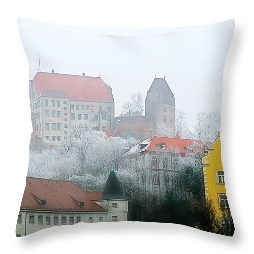 City Throw Pillow featuring the photograph Landshut Bavaria On A Foggy Day by Christine Till