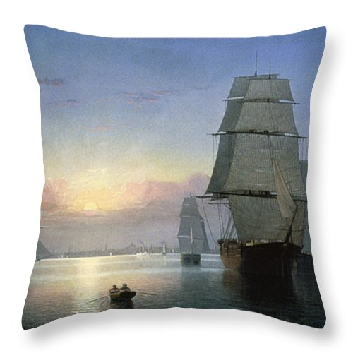 1850s Throw Pillow featuring the photograph Lane: Boston Harbor by Granger