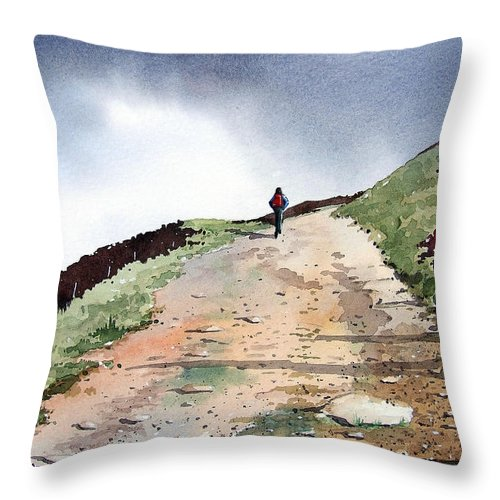 Landscape Throw Pillow featuring the painting Lane To Quarry Pole Moor by Paul Dene Marlor