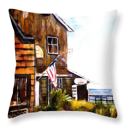 Langley Throw Pillow featuring the painting Langley Washington by Marti Green