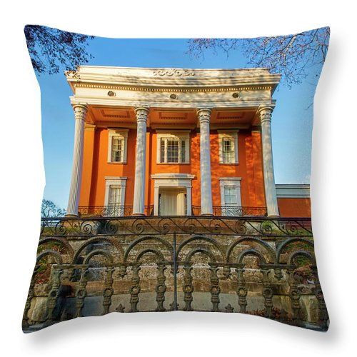 Madison Indiana Throw Pillow featuring the photograph Lanier Mansion by David Arment