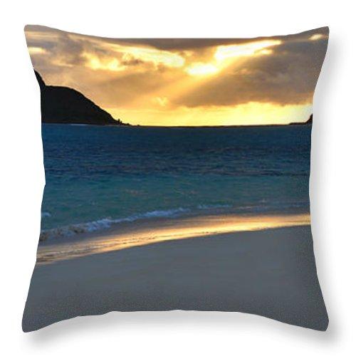 Lanikai Kailua Oahu Hawaii Beach Park Sunrise Panorama Seascape Throw Pillow featuring the photograph Lanikai Beach Sunrise Panorama - Kailua Oahu Hawaii by Brian Harig
