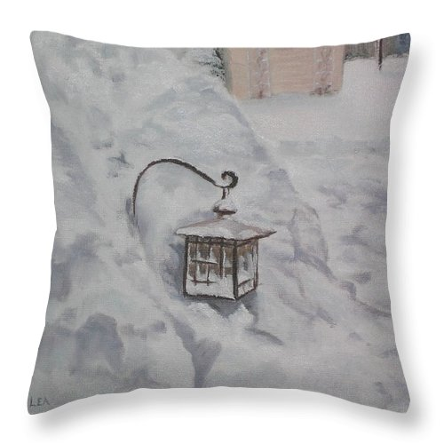 Snow Throw Pillow featuring the painting Lantern In The Snow by Lea Novak