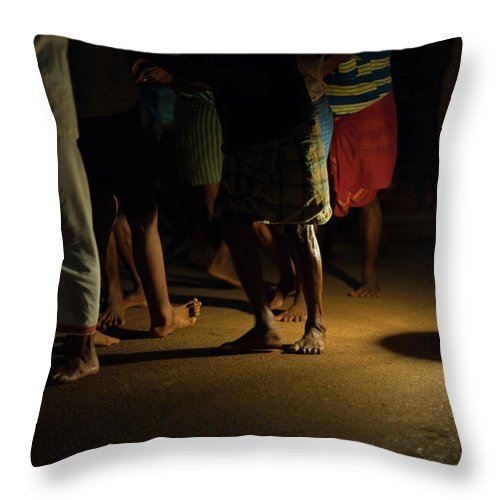 Bare Throw Pillow featuring the photograph Lantern Night Men Road Pulling Ratha Gokarna by Pius Lee