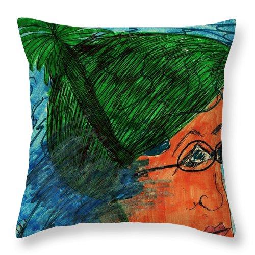 Girl In Green Cap Swimming Throw Pillow featuring the mixed media Lap Swim by Elinor Helen Rakowski