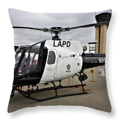 Helicopter Throw Pillow featuring the photograph Lapd Air Division by Tommy Anderson