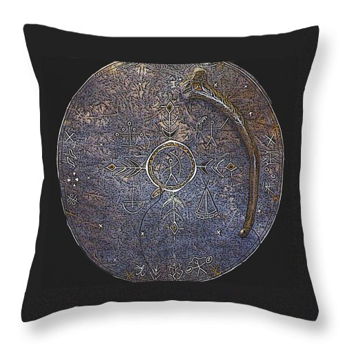 Lapland Throw Pillow featuring the photograph Lapland Shaman Drum by Merja Waters