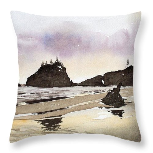 Washington Throw Pillow featuring the painting Lapush by Gale Cochran-Smith