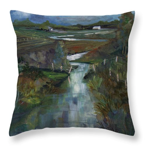 River Throw Pillow featuring the painting Laramie River Valley by Heather Coen