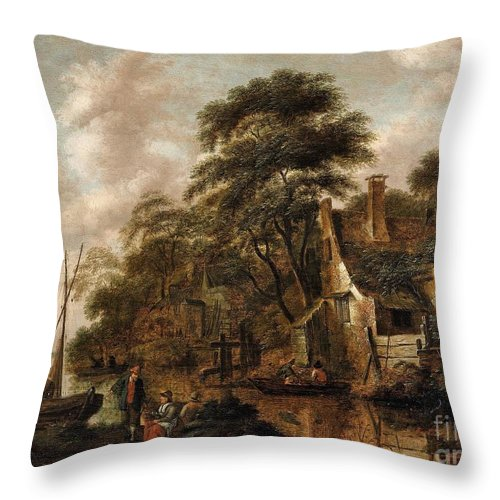 Cornelis Decker Throw Pillow featuring the painting Large Farmstead On The Bank Of A River by Celestial Images