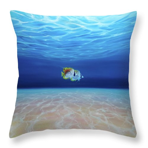 Large Original Oil Painting Free Under The Sea A Large Underwater Seascape With Fish Throw Pillow For Sale By Gill Bustamante