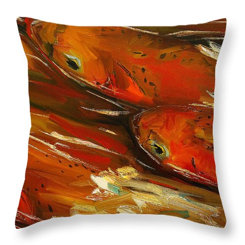 Trout Throw Pillow featuring the painting Large Trout Stream Fly Fish by Diane Whitehead