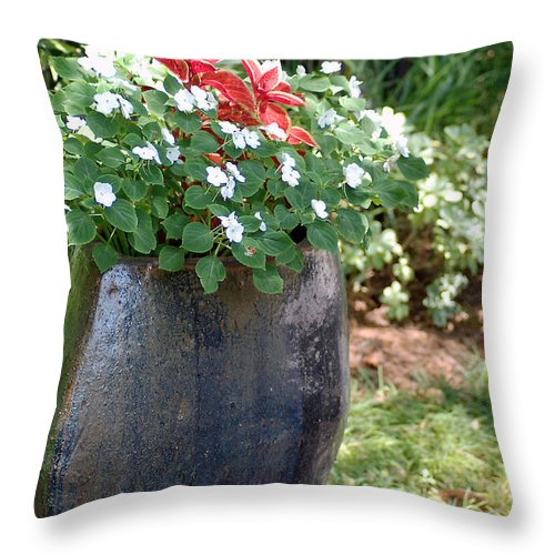 Flowers Throw Pillow featuring the photograph Large Vase by Donna Bentley