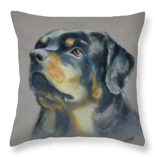 Dog Throw Pillow featuring the painting Lars by Carol Mueller