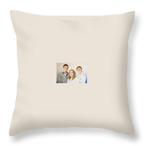 Portrait Throw Pillow featuring the drawing Lars Niels And Ilse by Rob De Vries