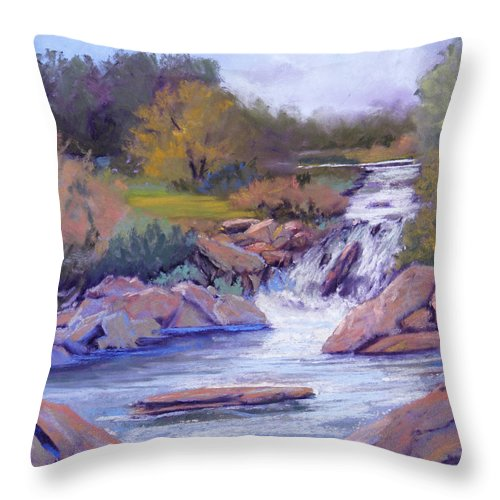 Pastel Throw Pillow featuring the painting Larsen Falls by Heather Coen