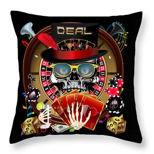 Aquarius Throw Pillow featuring the digital art Las Vegas Casino 2 by Bill Campitelle