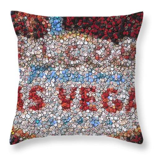 Gambling Throw Pillow featuring the mixed media Las Vegas Sign Poker Chip Mosaic by Paul Van Scott