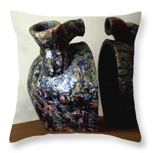 Ceramic Throw Pillow featuring the sculpture Las Venas Abiertas De America Latina by Madalena Lobao-Tello