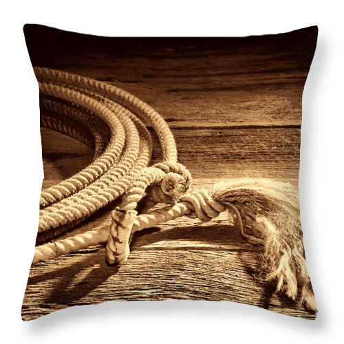 Rodeo Throw Pillow featuring the photograph Lasso by American West Legend By Olivier Le Queinec