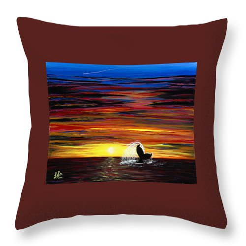 Whale Throw Pillow featuring the painting Last Days Dive by Luke Walker