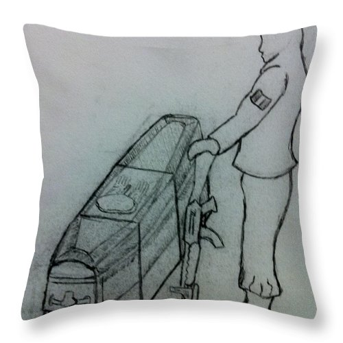 Tags: Throw Pillow featuring the drawing Last Goodbye by Brett Genda