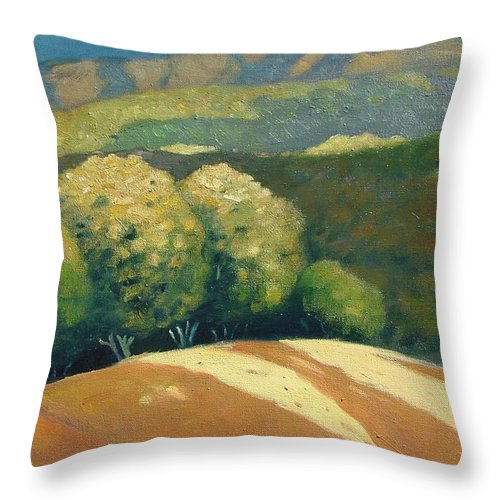 Hills Throw Pillow featuring the painting Last Kiss Of Sunlight by Gary Coleman