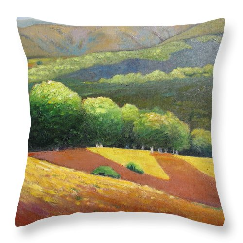 Ca Hills Throw Pillow featuring the painting Last Kiss Of Sunshine by Gary Coleman