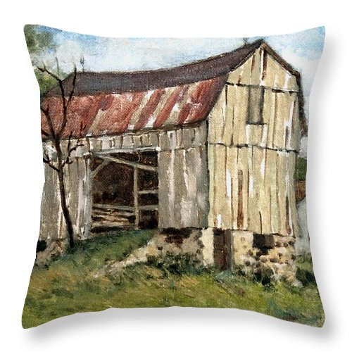 Barn Throw Pillow featuring the painting Last Legs by Richard De Wolfe
