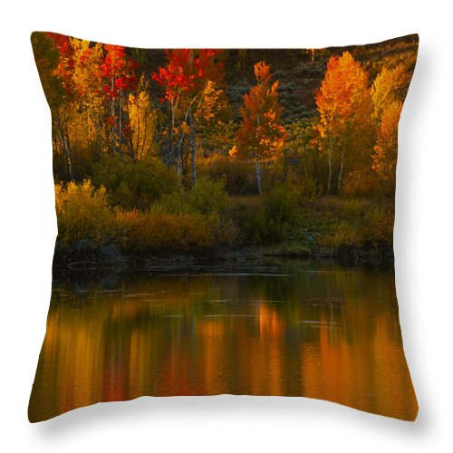 Grand Teton Throw Pillow featuring the photograph Last Light At Oxbow Bend by Sandra Bronstein