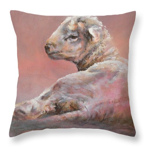 Sheep Throw Pillow featuring the painting Last Light by Mia DeLode