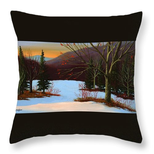 Winter Throw Pillow featuring the painting Last Light Of Day by Frank Wilson