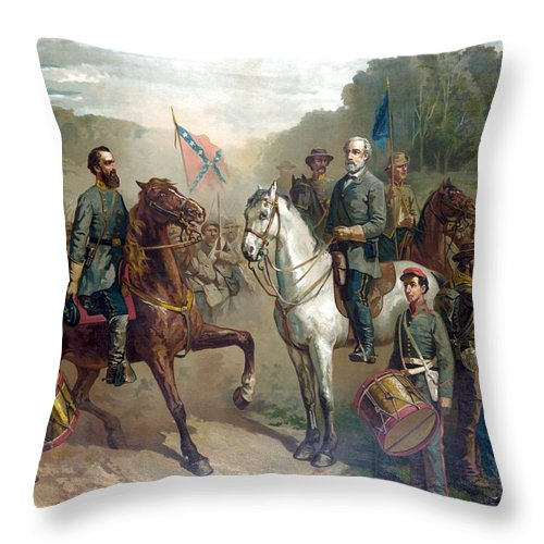 Robert E Lee Throw Pillow featuring the painting Last Meeting Of Lee And Jackson by War Is Hell Store