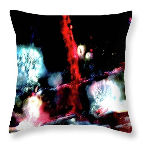 Red Throw Pillow featuring the painting Last Night by Janice Nabors Raiteri