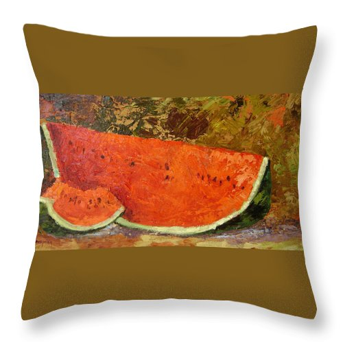 Watermelon Throw Pillow featuring the painting Last Of Summer by Ginger Concepcion