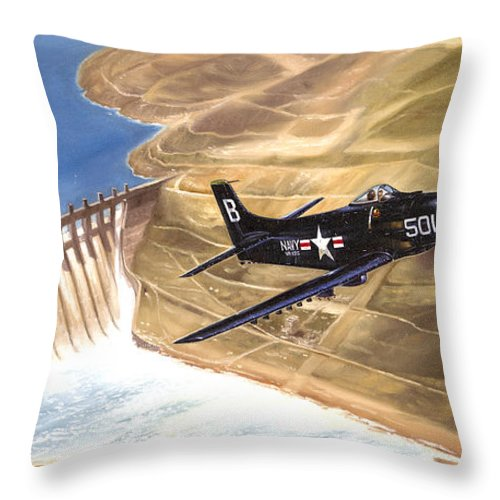Military Throw Pillow featuring the painting Last Of The Dambusters by Marc Stewart