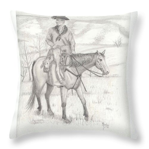 Horse Throw Pillow featuring the drawing Last One In by Mendy Pedersen