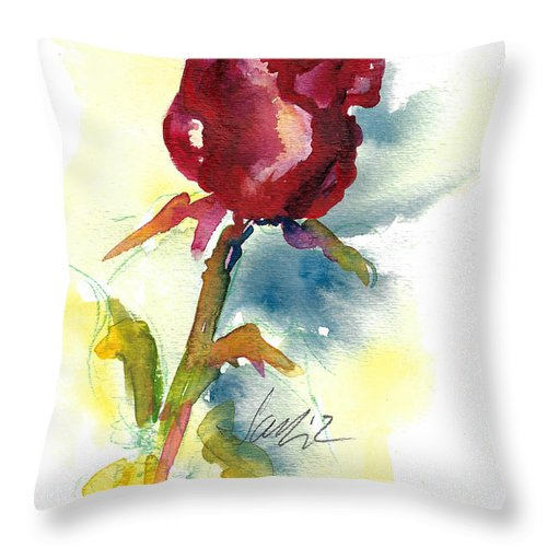 Rose Painting Throw Pillow featuring the painting Last Rose Of Summer by Jacki Kellum